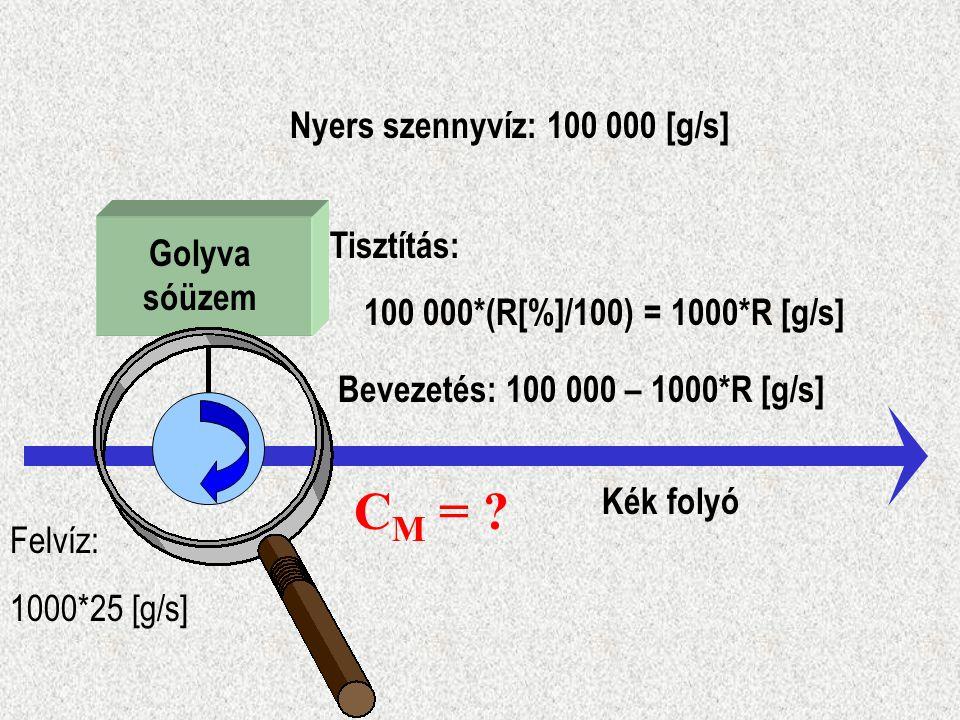 CM = Nyers szennyvíz: 100 000 [g/s] Tisztítás: Golyva sóüzem